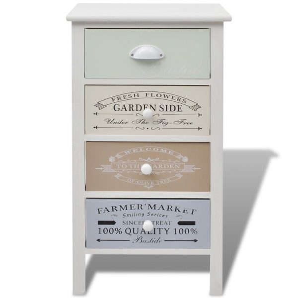 French Storage Cabinet 4 Drawers Wood 3