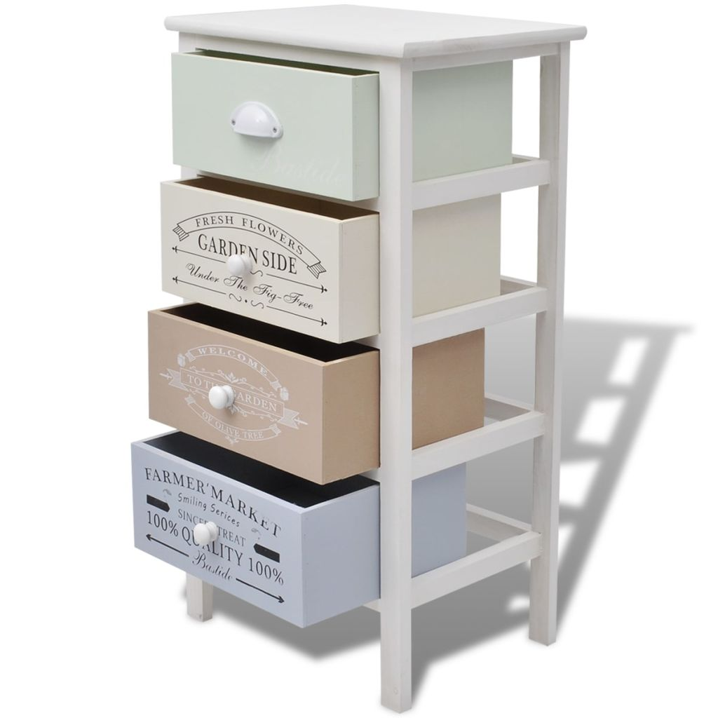 French Storage Cabinet 4 Drawers Wood 4