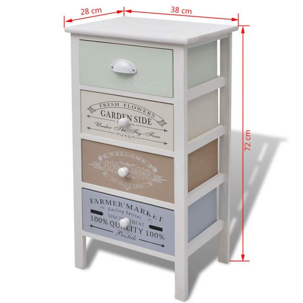 French Storage Cabinet 4 Drawers Wood 6