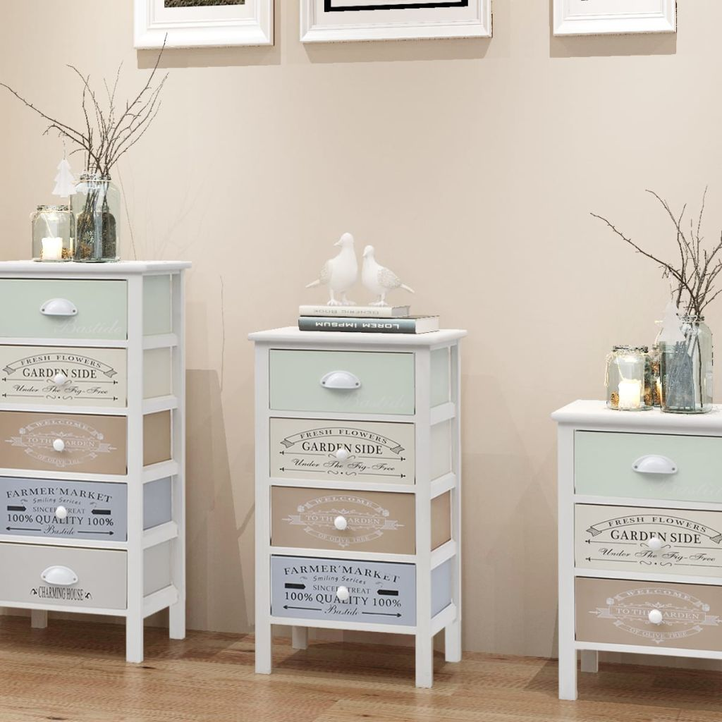 French Storage Cabinet 4 Drawers Wood