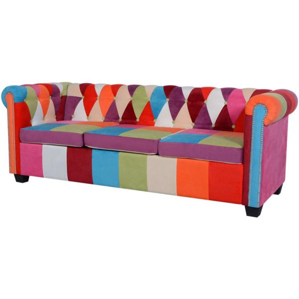 Chesterfield Sofa 3-Seater Fabric 1
