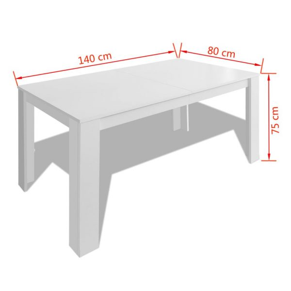 Dining Table 140x80x75 cm White 5
