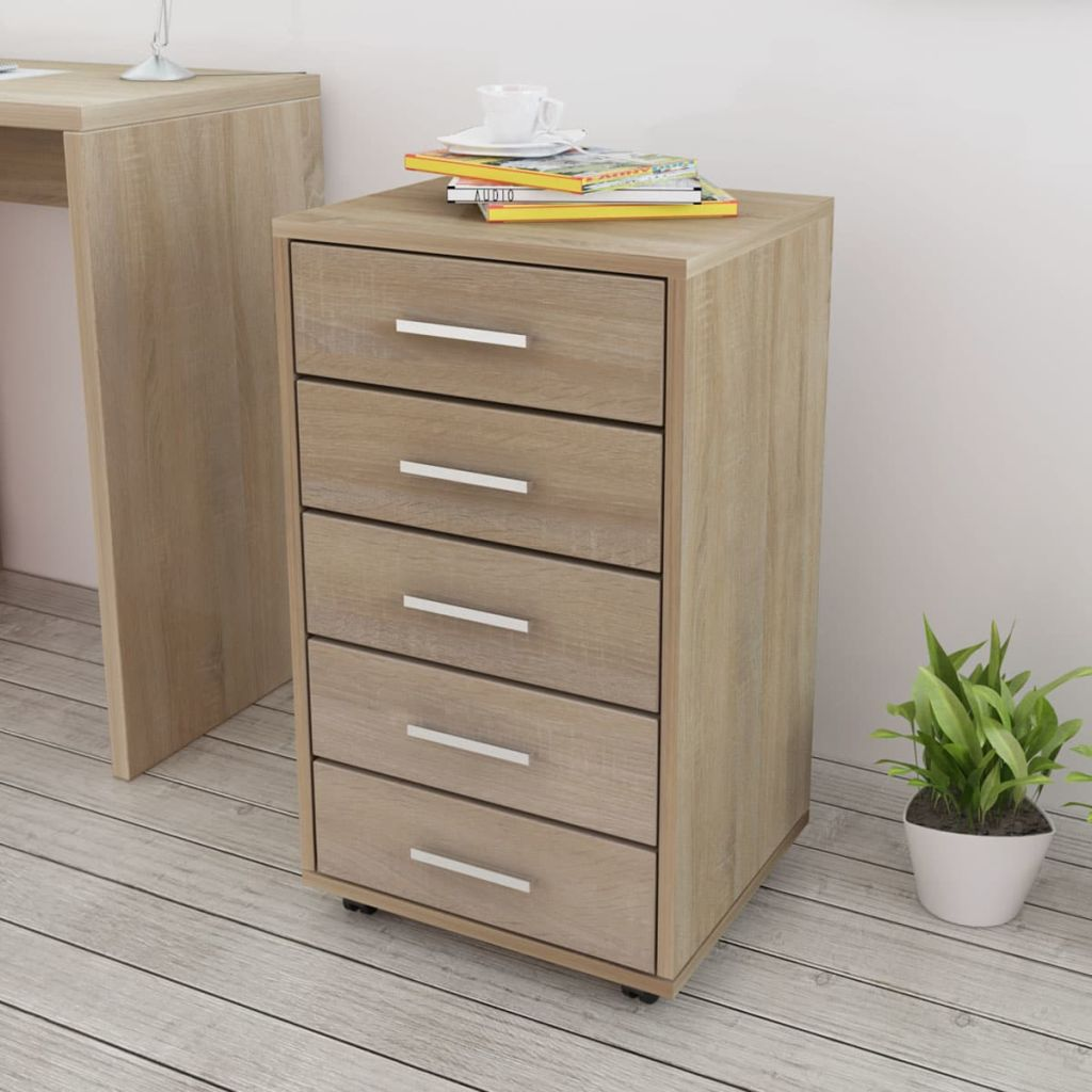 Office Drawer Unit with Castors 5 Drawers Oak