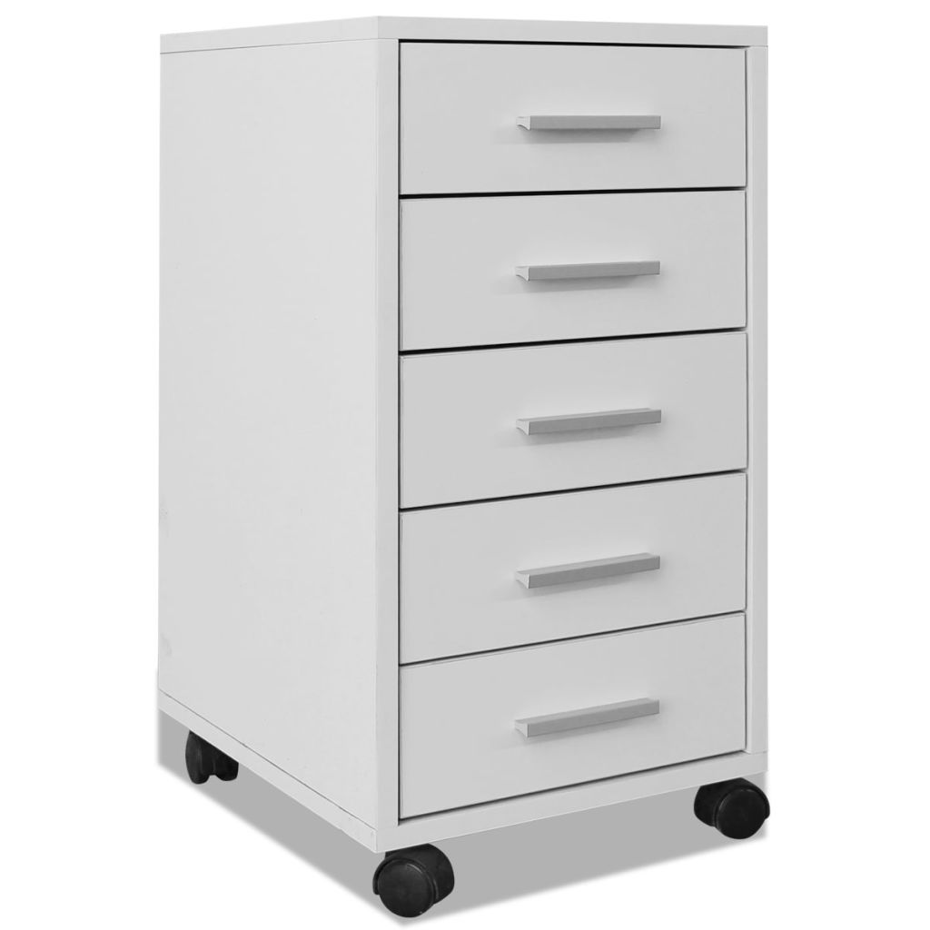Office Drawer Unit with Castors 5 Drawers White 2