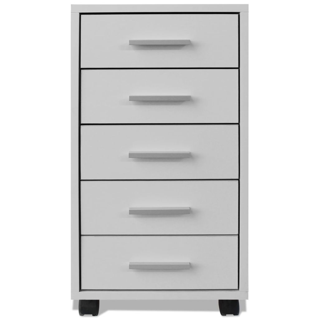 Office Drawer Unit with Castors 5 Drawers White 3
