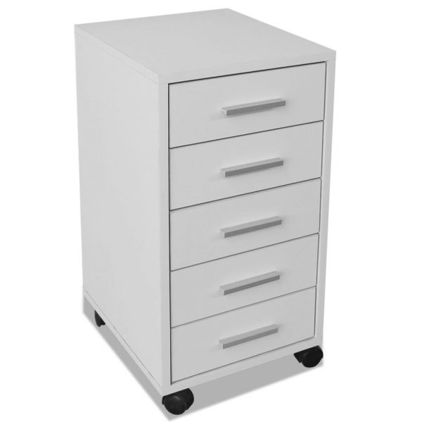 Office Drawer Unit with Castors 5 Drawers White 4