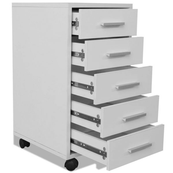 Office Drawer Unit with Castors 5 Drawers White 5
