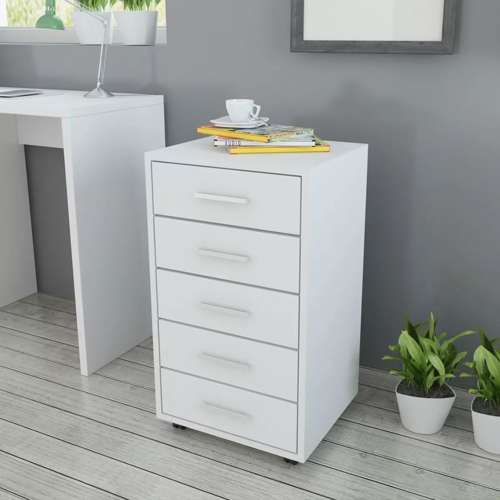Office Drawer Unit with Castors 5 Drawers White 1