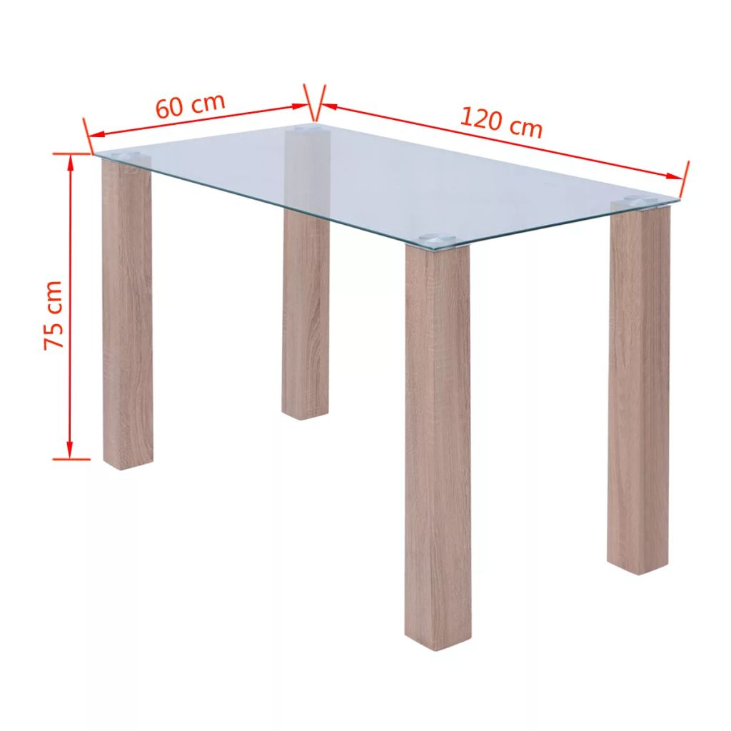 Dining Table Glass 120x60x75 cm 4