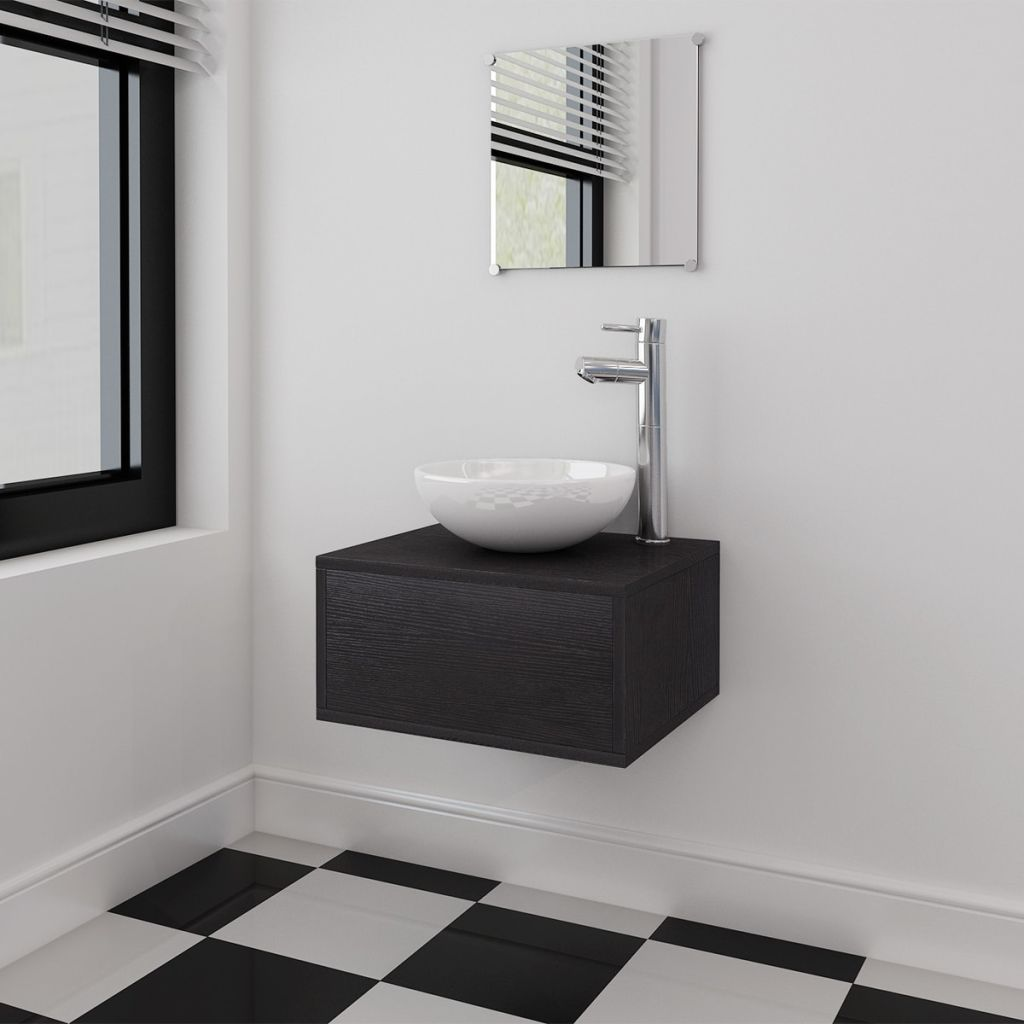 Four Piece Bathroom Furniture Set with Basin with Tap Black