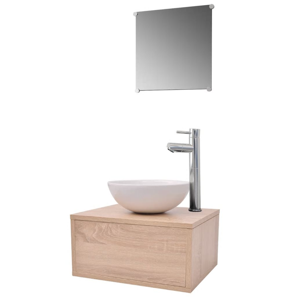 Four Piece Bathroom Furniture Set with Basin with Tap Beige 2