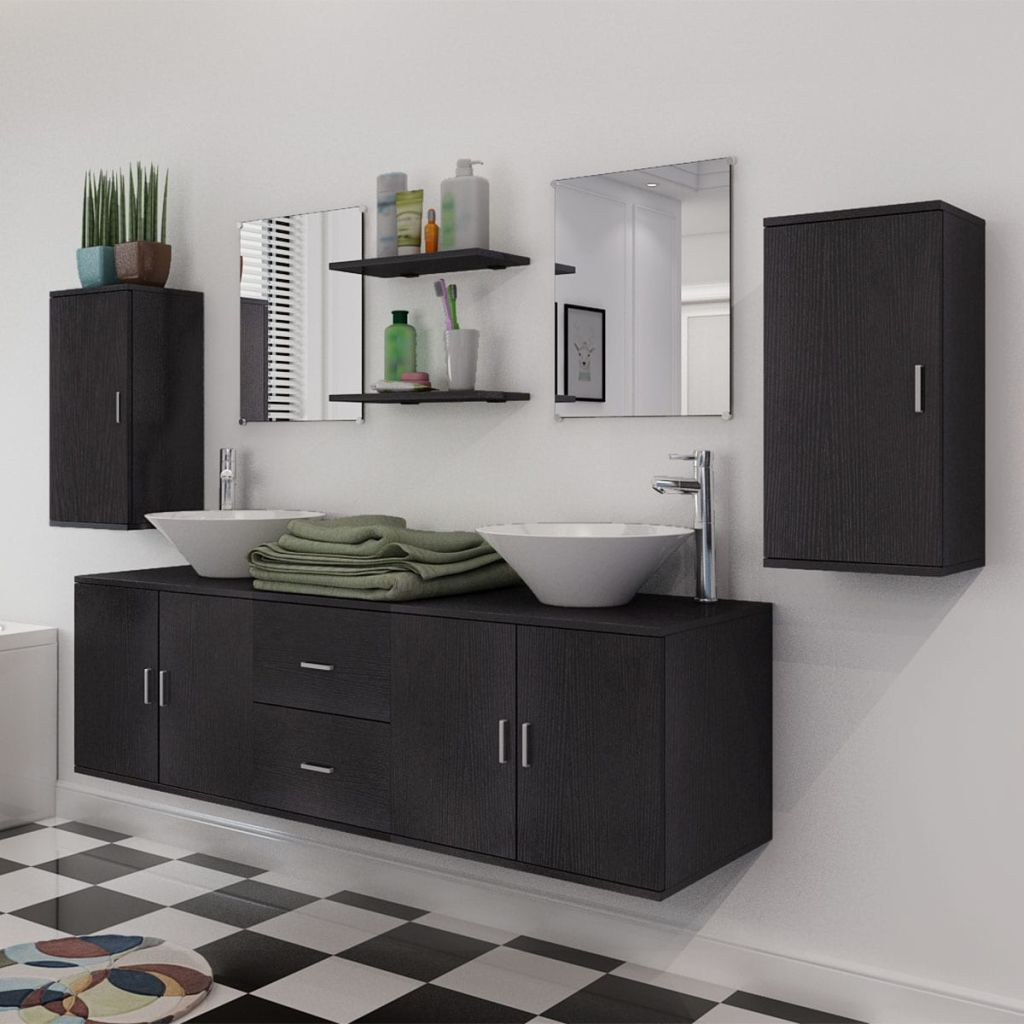 11 Piece Bathroom Furniture Set with Basin with Tap Black 3