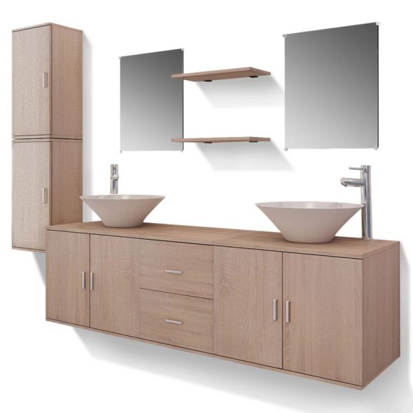 11 Piece Bathroom Furniture Set with Basin with Tap Beige 2