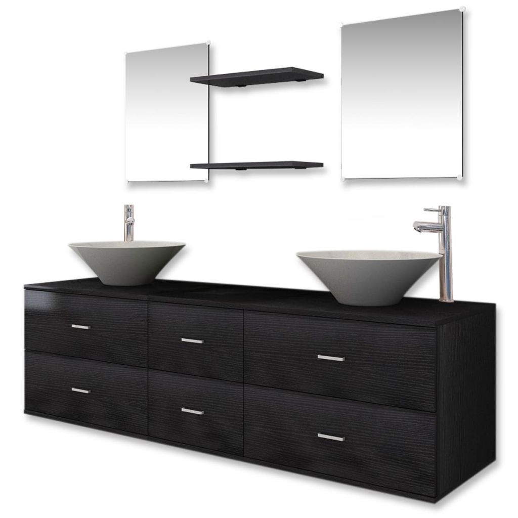 Nine Piece Bathroom Furniture Set with Basin with Tap Black 2