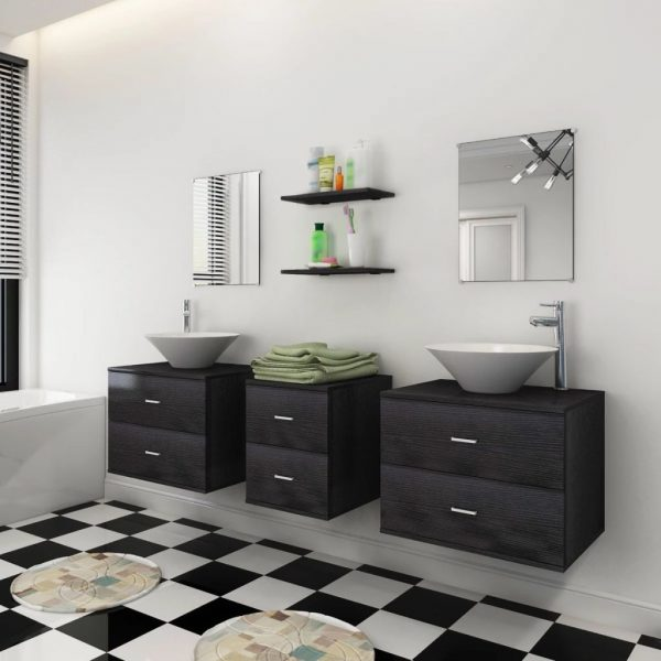Nine Piece Bathroom Furniture Set with Basin with Tap Black 3
