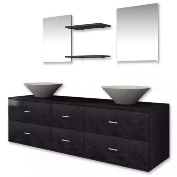 Nine Piece Bathroom Furniture Set with Basin with Tap Black 4