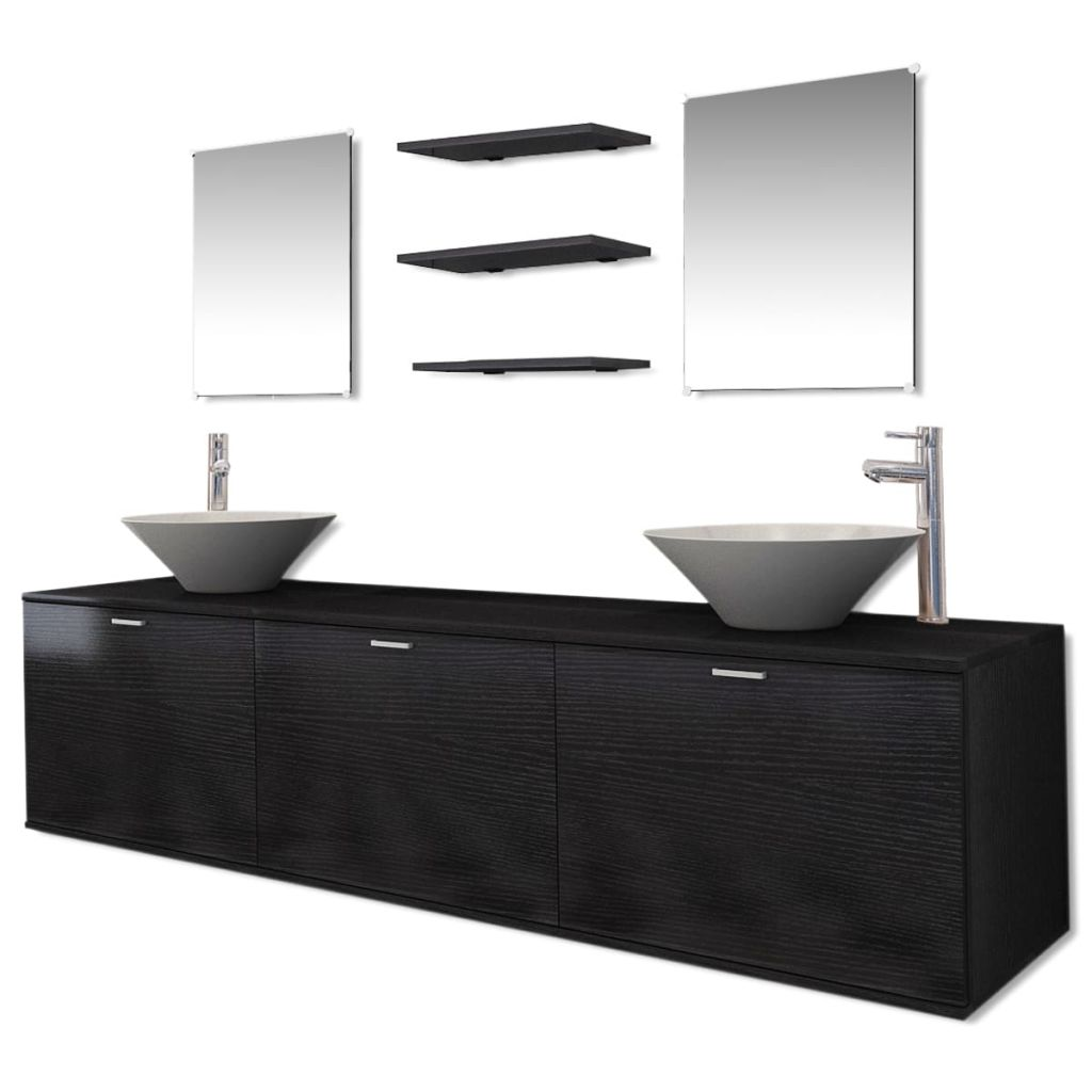 Ten Piece Bathroom Furniture Set with Basin with Tap Black 2