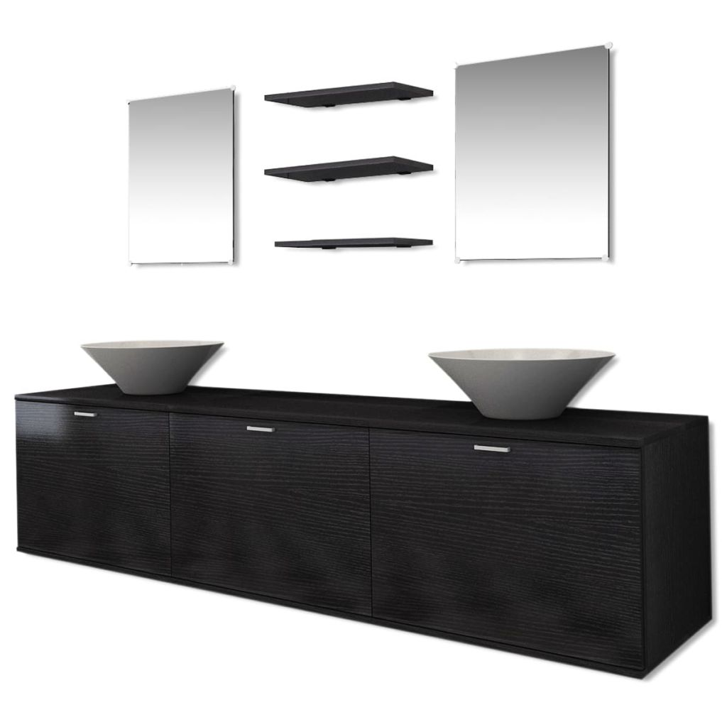 Ten Piece Bathroom Furniture Set with Basin with Tap Black 3