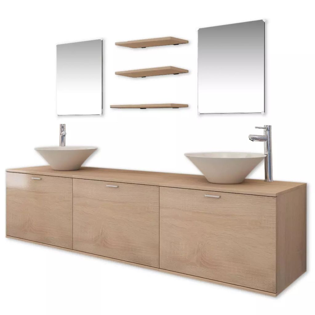 Ten Piece Bathroom Furniture Set with Basin with Tap Beige 2