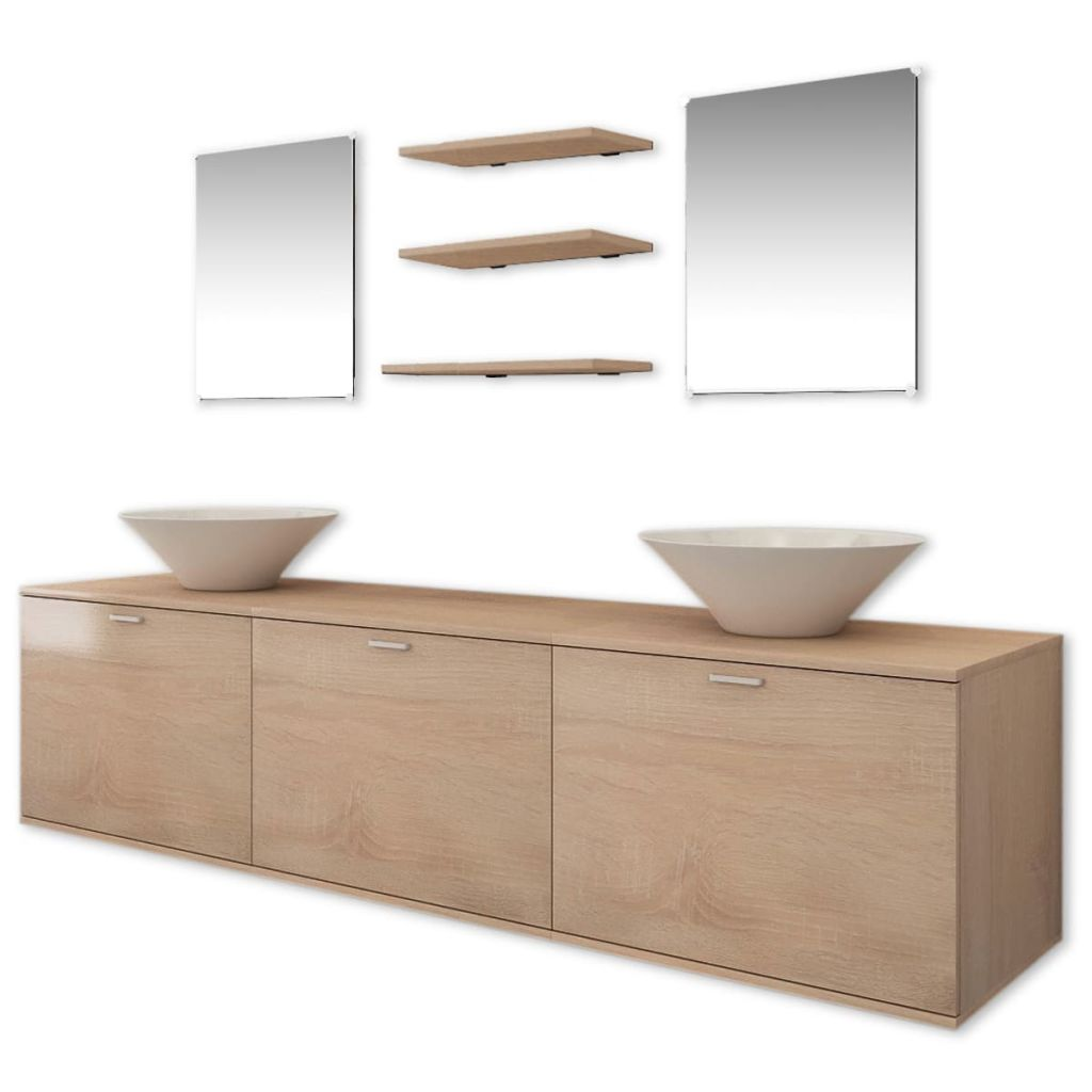 Ten Piece Bathroom Furniture Set with Basin with Tap Beige 3