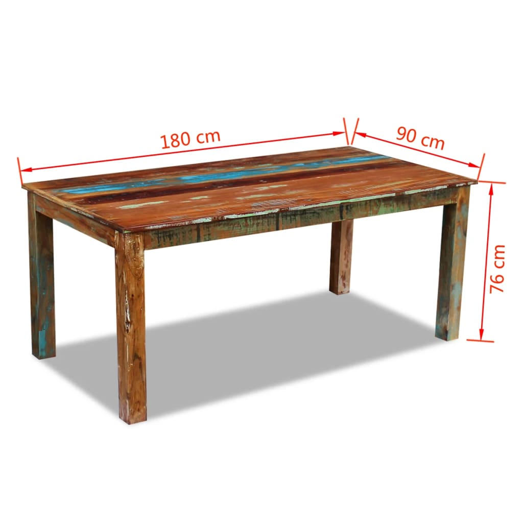 Dining Table Solid Reclaimed Wood 180x90x76 cm 8