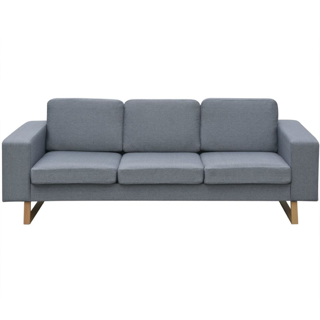2-Seater and 3-Seater Sofa Set Light Grey 6