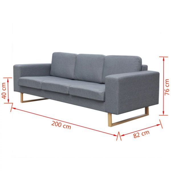 2-Seater and 3-Seater Sofa Set Light Grey 9