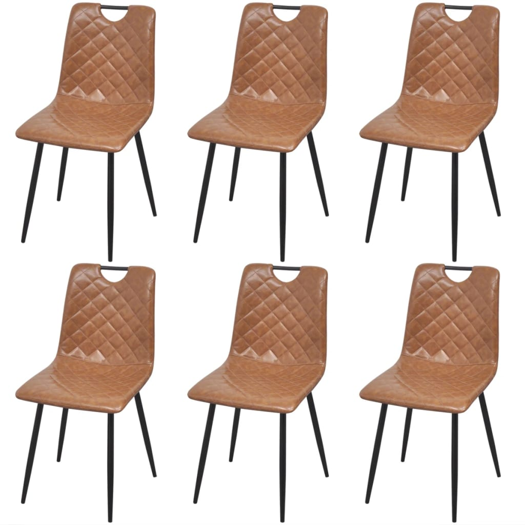Dining Chairs 6 pcs Light Brown Faux Leather