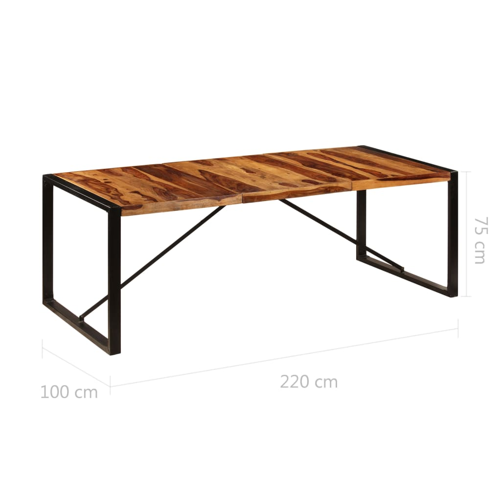Dining Table 220x100x75 cm Solid Sheesham Wood 6