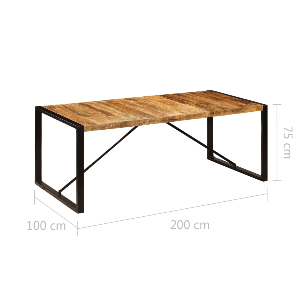 Dining Table 200x100x75 cm Solid Mango Wood 6