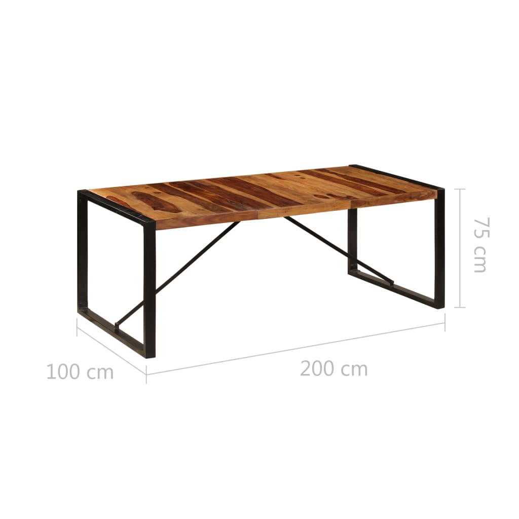 Dining Table 200x100x75 cm Solid Sheesham Wood 6