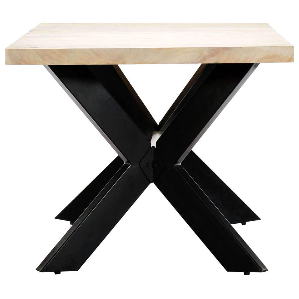 Dining Table White 180x90x75 cm Solid Mango Wood 3