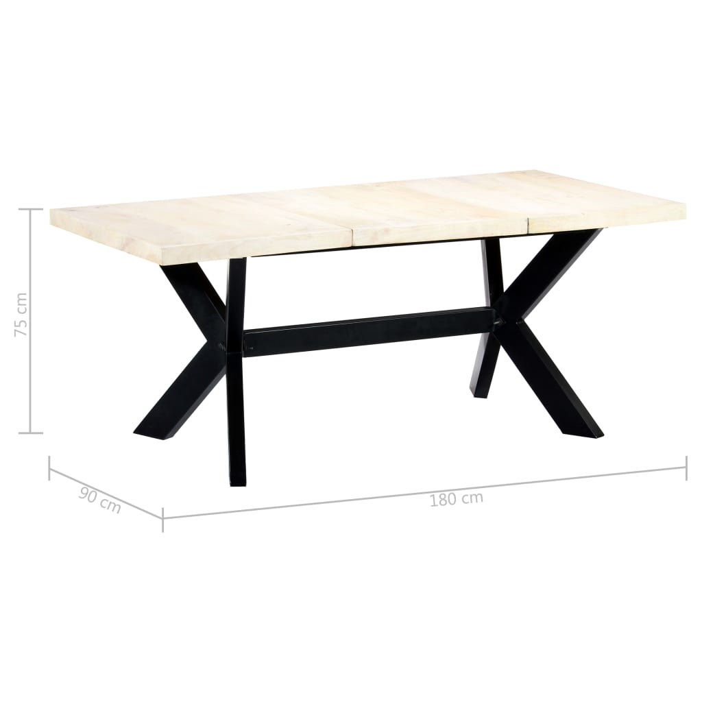 Dining Table White 180x90x75 cm Solid Mango Wood 5