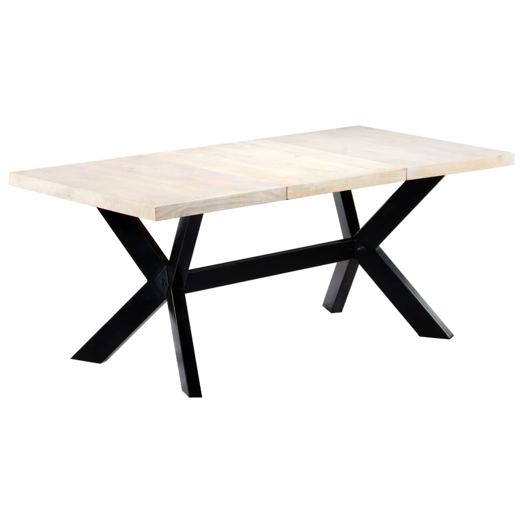 Dining Table White 180x90x75 cm Solid Mango Wood 6