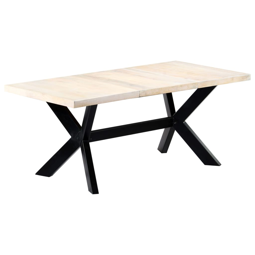 Dining Table White 180x90x75 cm Solid Mango Wood 9