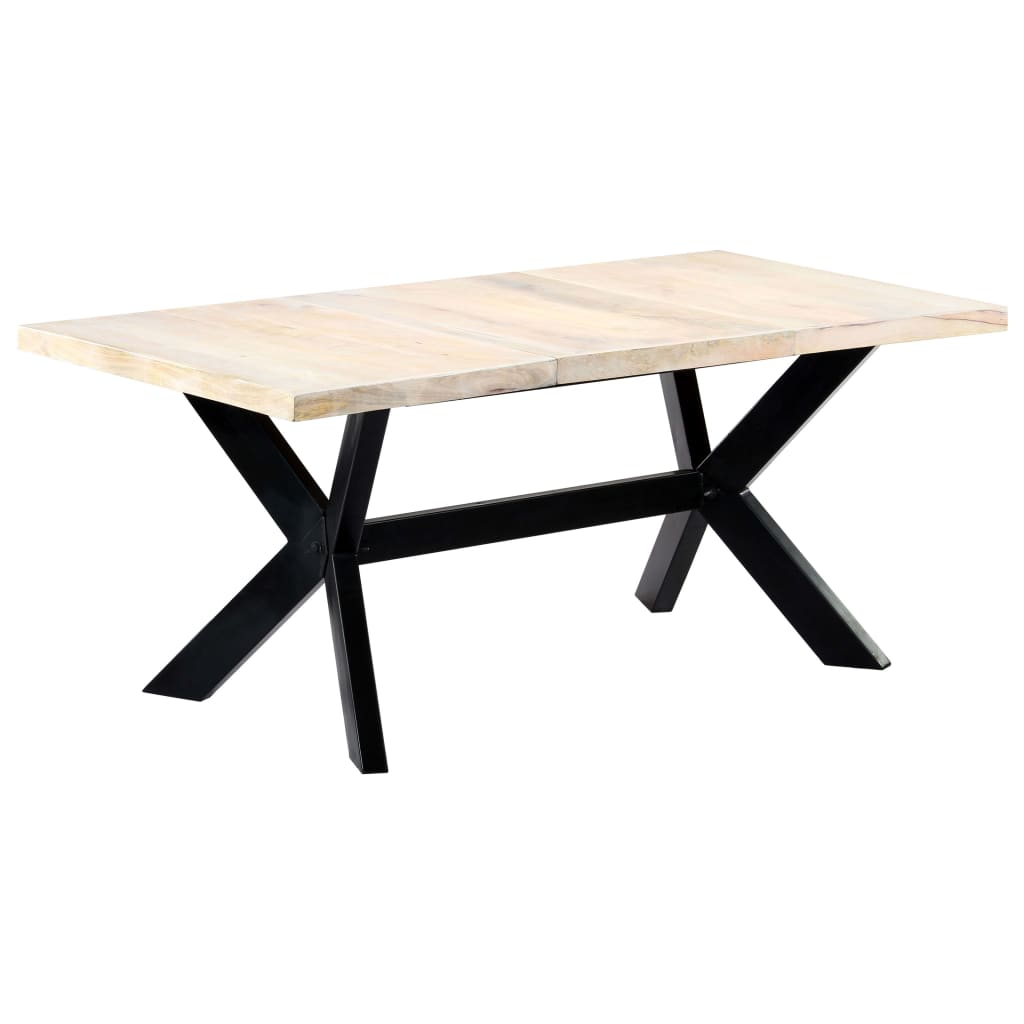 Dining Table White 180x90x75 cm Solid Mango Wood 10