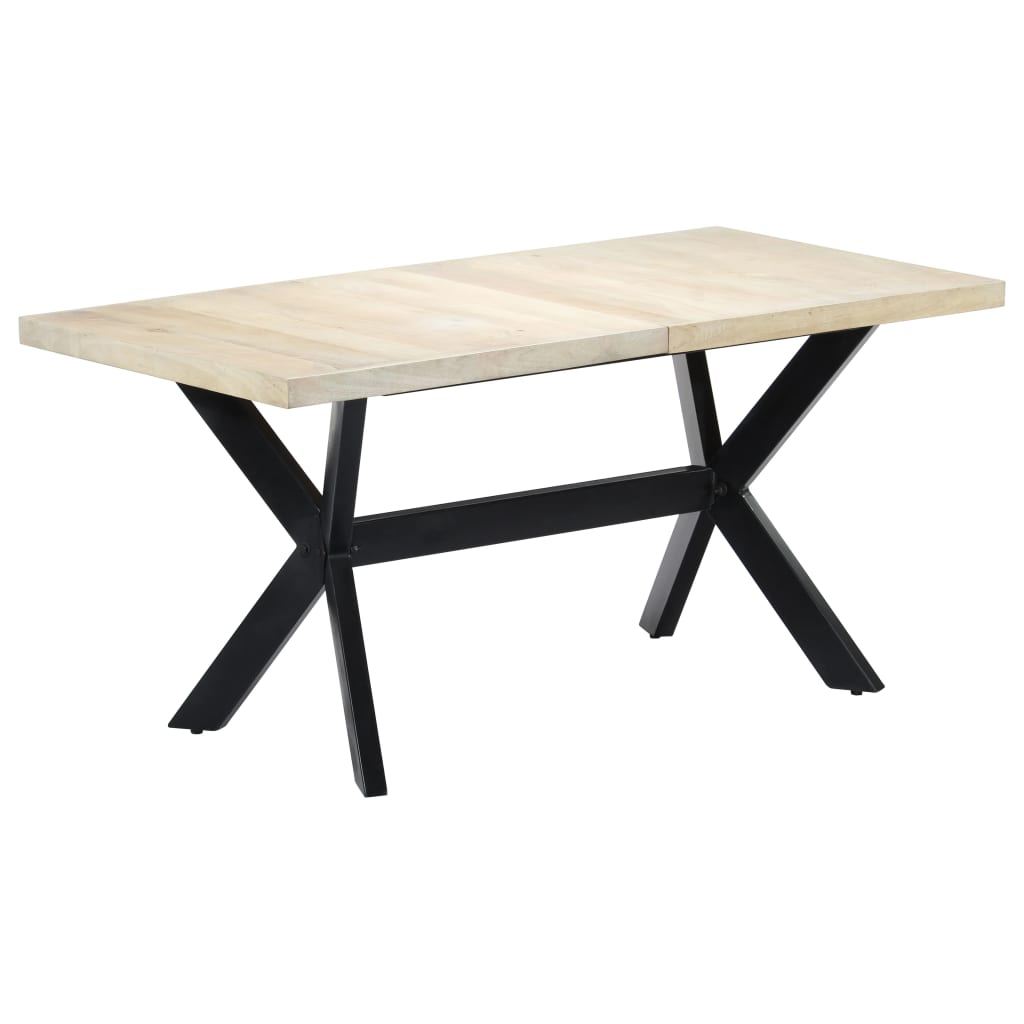 Dining Table White 160x80x75 cm Solid Mango Wood