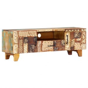 Hand Carved TV Cabinet 120x30x40 cm Solid Reclaimed Wood