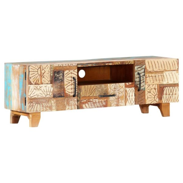 Hand Carved TV Cabinet 120x30x40 cm Solid Reclaimed Wood 11