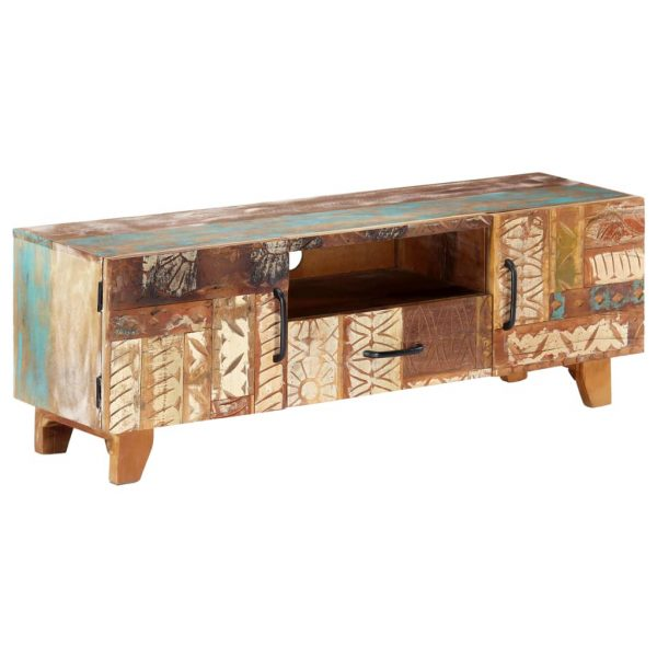 Hand Carved TV Cabinet 120x30x40 cm Solid Reclaimed Wood 3