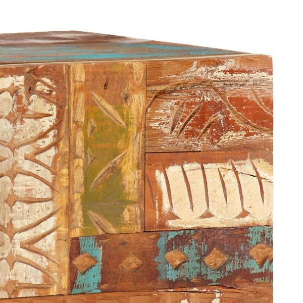 Hand Carved TV Cabinet 120x30x40 cm Solid Reclaimed Wood 8