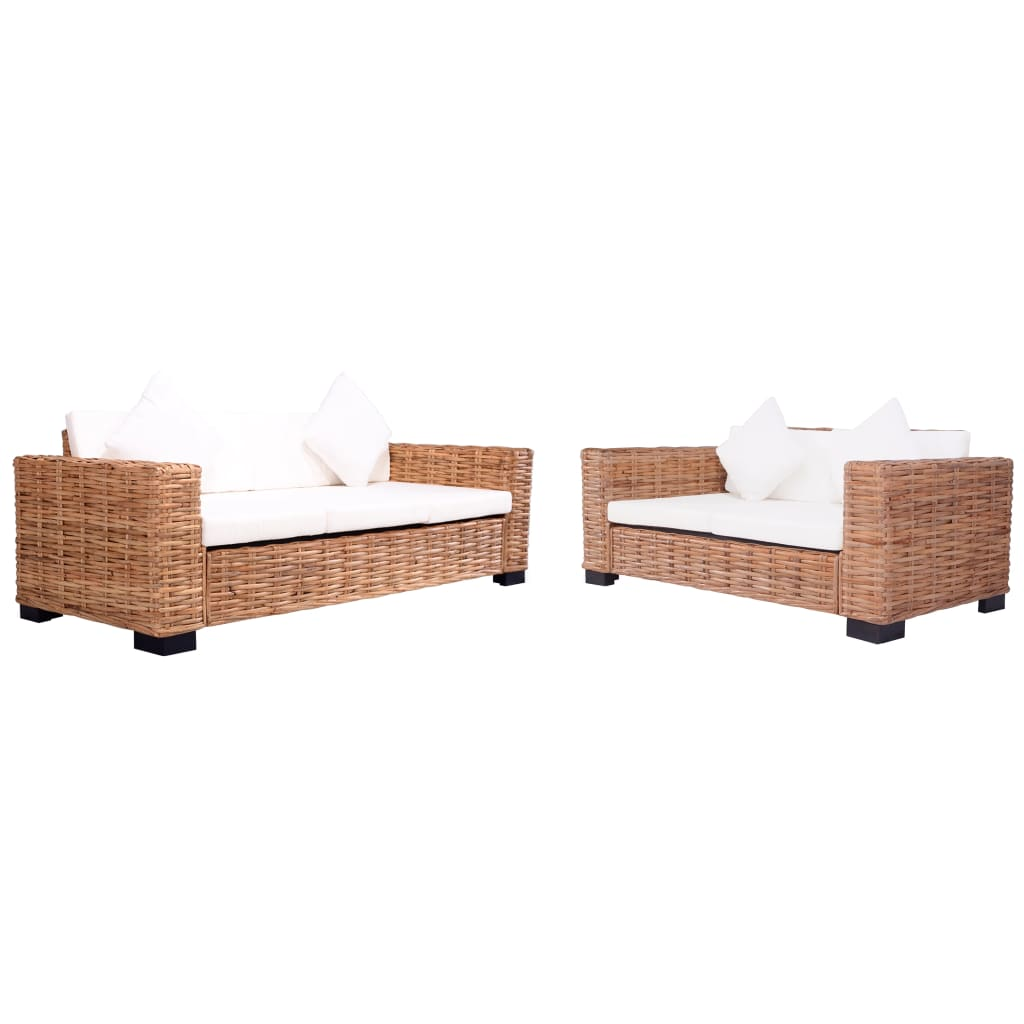 2 Piece Garden Sofa Set with Cushions Natural Rattan
