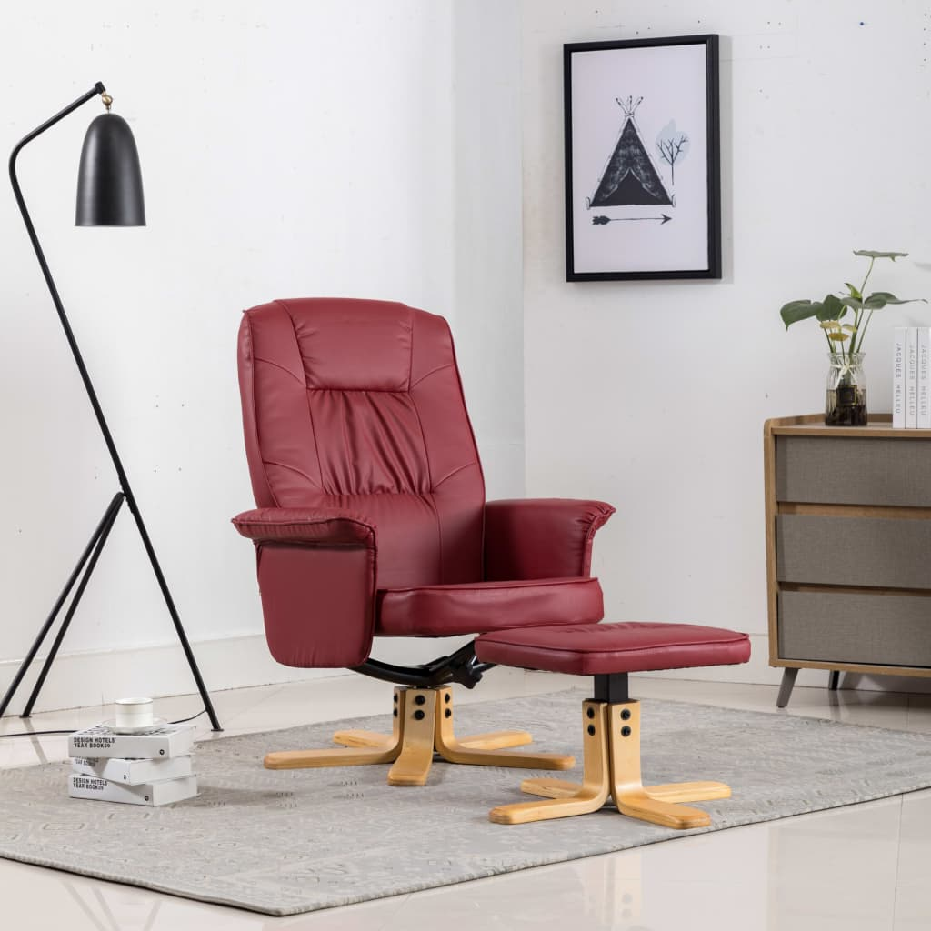 Armchair with Footrest Wine Red Faux Leather