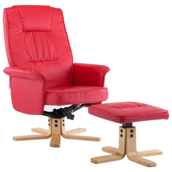 Armchair with Footrest Red Faux Leather 2