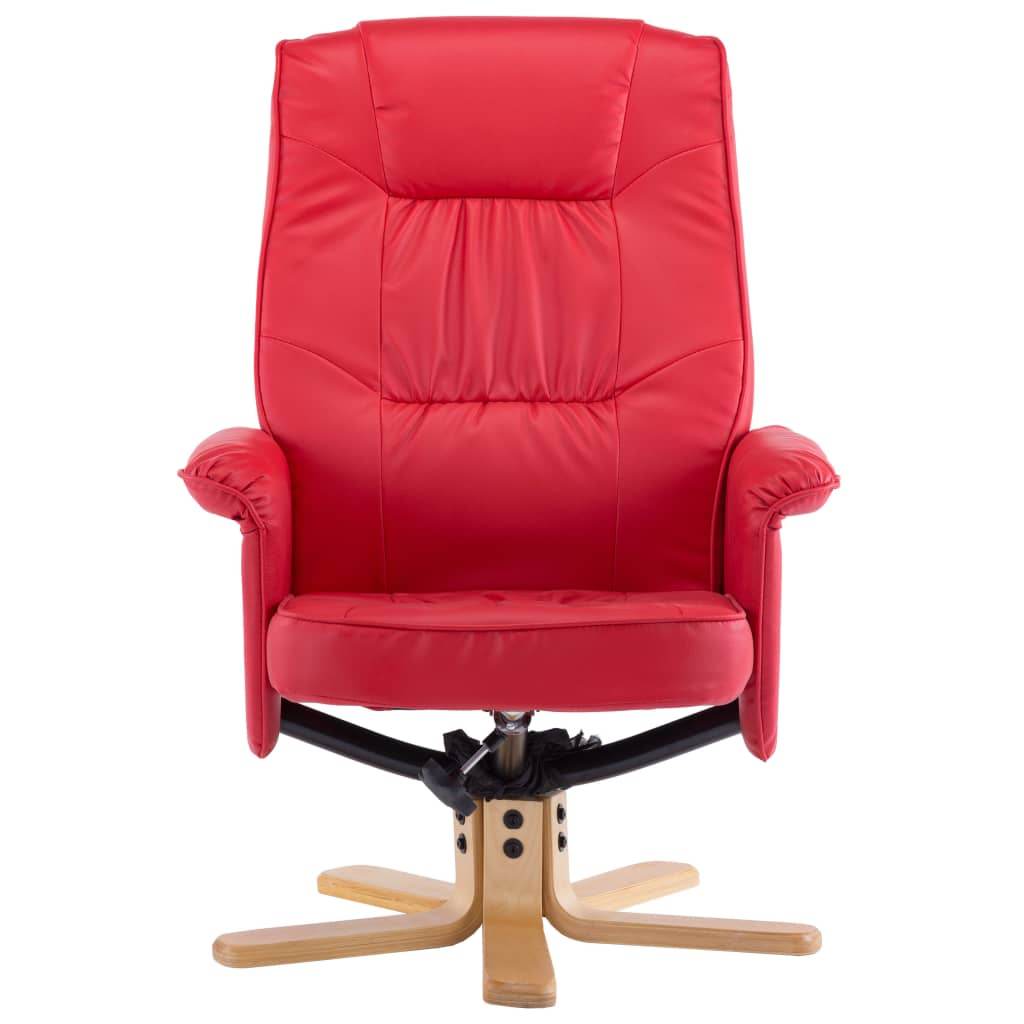Armchair with Footrest Red Faux Leather 7