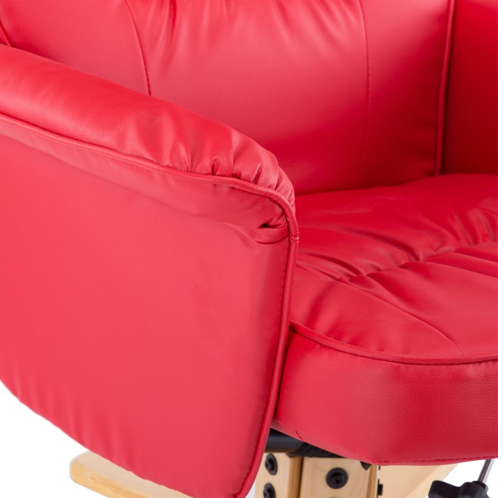 Armchair with Footrest Red Faux Leather 9