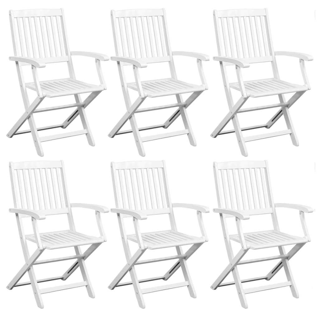 Dining Chairs 6 pcs White Solid Acacia Wood
