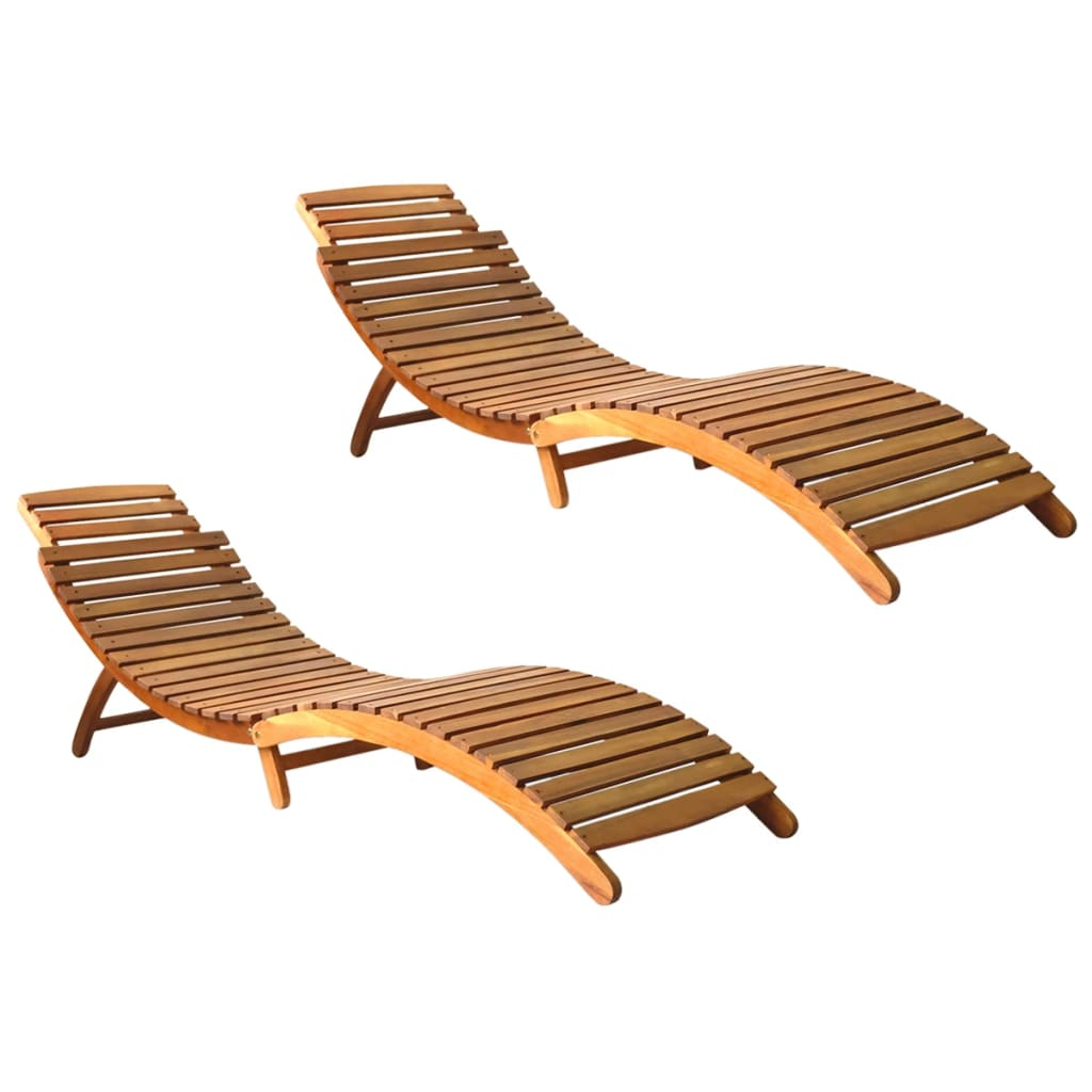 Sun Loungers 2 pcs Solid Acacia Wood