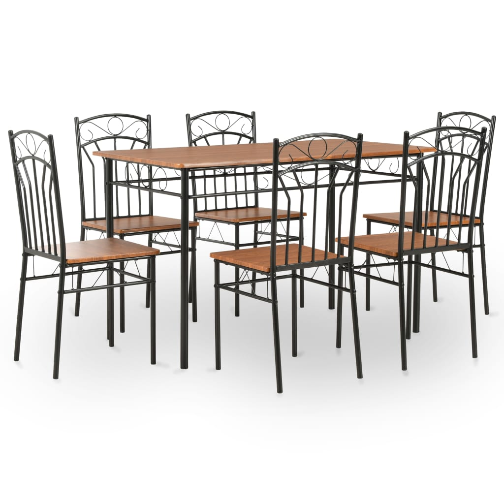 7 Piece Dining Set MDF and Steel Brown