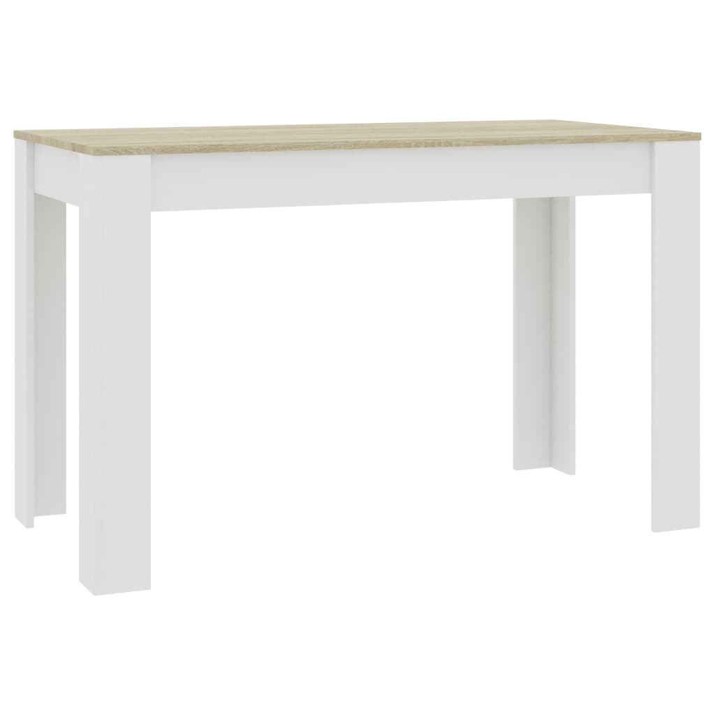 Dining Table White and Sonoma Oak 120x60x76 cm Chipboard 2